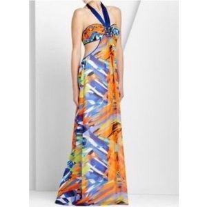 NWT BCBGMaxAzria 100% Silk Halter Maxi Dress